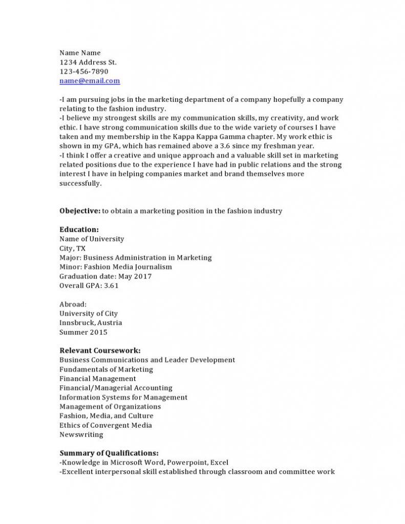 Sample Resume With Keywords At Bottom