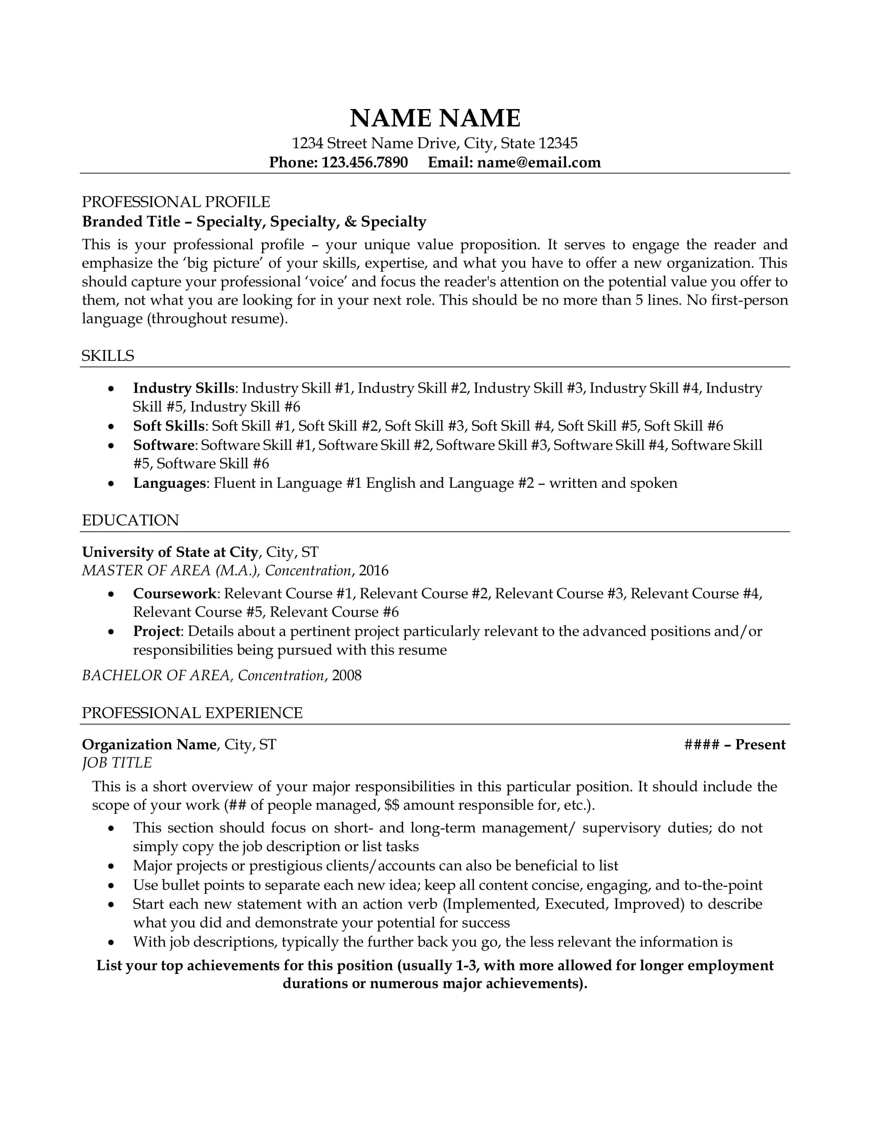 Resume Example Resume Sample All Level Resumes Resume